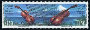 Chile 1091ab pair,MNH. Michel 1595-1596. Musical Instruments:Violin,Cello.1994.
