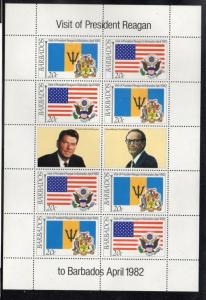 Barbados Sc 581-4 1982 Reagan Visit stamp sheet mint NH