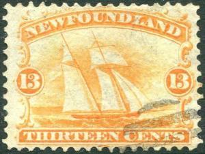 NEWFOUNDLAND-1865-70  13c Orange-Yellow Sg 29 FINE USED V30394
