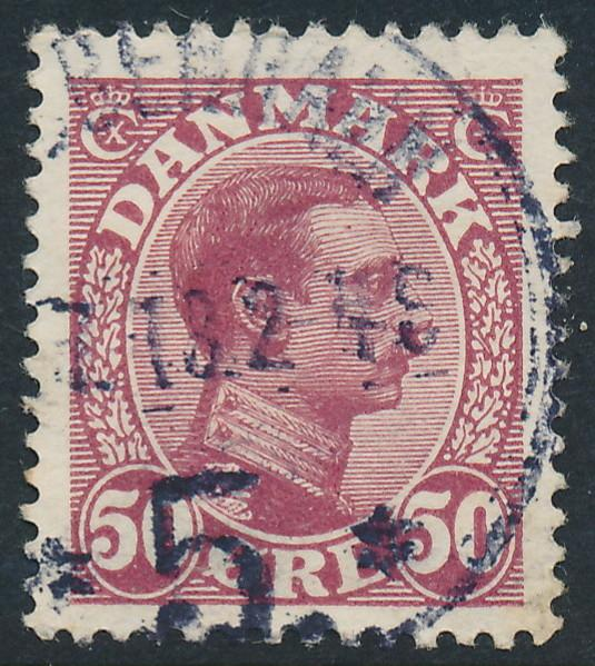 Denmark Scott 120 (AFA 74), 50ø wine red Chr. X, VF used