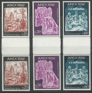 Andorra-French # 176-80  Fresco Art  GUTTER PAIRS  (3) Mint NH