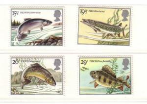 Great Britain Sc1011-14 1983 River Fish stamps NH