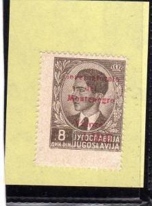 MONTENEGRO 1942 SOPRASTAMPA ROSSA RED OVERPRINTED LIRE 8 D MNH