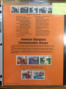 US #SP919 / 2496-2500 American Olympians Comm Stamps - Souvenir Sheet / Page