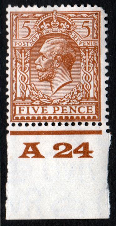 GB KGV 1924 5d Brown SG425 Control A24 Mint Hinged