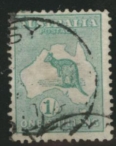 AUSTRALIA  Scott 10 the 1 shilling  Kangaroo Map stamp 19...