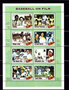 Gambia 1349 MNH 1993 Baseball on Film sheet of 8  (B1P2)