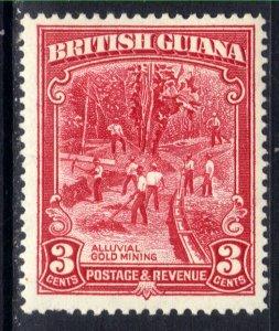 British Guiana 1934 KGV 3ct Scarlet Gold Mining MM SG 290b ( H763 )