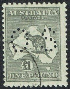AUSTRALIA 1923 KANGAROO OS 1 POUND 3RD WMK CTO WITH GUM