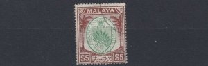 MALAYA  NEGRI SEMBILAN  1949 - 55  S G 62  $5  GREEN & BROWN  USED  CAT £120