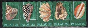 Palau # 104-08 (108a) ~ Strip of 5 ~ Shells ~ Mint, NH
