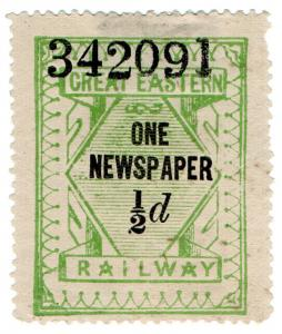(I.B) Great Eastern Railway : One Newspaper ½d (with control)
