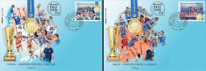 Serbia 2019 Europa Men and Women Volleyball Champions Sports Flags FDC