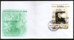 Micronesia 2005 Friedrich Van Schiller Writer Sc 640 M/s FDC # 16558