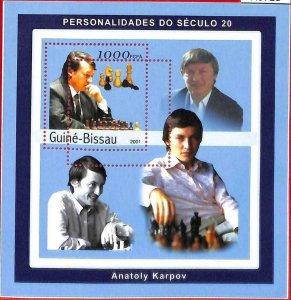 A0720 - GUINEA-BISSAU - ERROR  MISSPERF SHEET - SPORT: Chess KARPOV 2001
