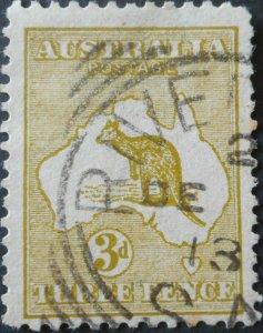 Australia 1913 Three Pence Die I Kangaroo with RIVERTON postmark