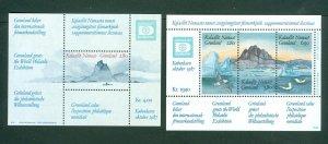 Greenland. 2 Diff.Souvenir Sheet. Mnh.Hafnia 87. Sc# 175 + 199. Birds,Mountain