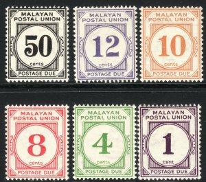 1936 - 1938 Malaya postage due complete set MNH Sc# J7 / J12 CV: $276.00