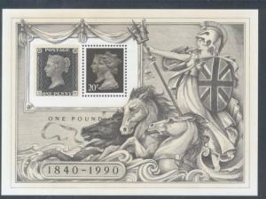 Great Britain Sc MH193f 1990 20p stamp sheet mint NH