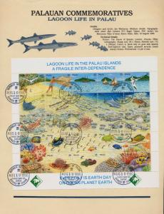 Palau 246 on Souvenir Page - Lagoon Life, Fish, Shells, Birds, Coral, Canoe