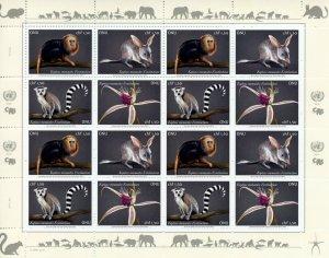 Geneva United Nations UN Stamps 2021 MNH Endangered Species Monkeys 16v M/S