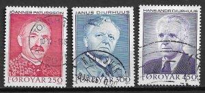 1984 Faroe Islands 109-11 Poets used set of 3