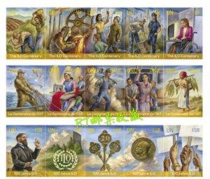 United Nations 2019 UN Strip 100th ILO International Labor Organization Stamps