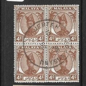 MALAYA TRENGGANU  (P2311B) 4C SULTAN SG70 BL OF 4 JERTEH  VFU