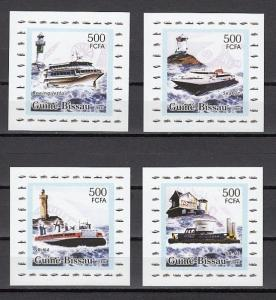 Guinea Bissau, Mi cat. 3319-3322. Lighthouses & Ships on Small s/sheets.