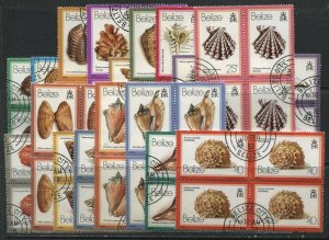 Belize 1980 Shells complete set CDS used in blocks of 4