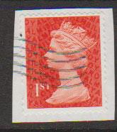 GB QE II Machin SG U2968a - 1st vermillion  - date code M13L - Source  B