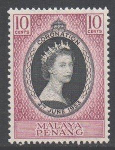Malaya Penang Scott 27 - SG27, 1953 Coronation 10c MNH**