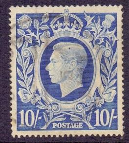 Great Britain 1939 used George VI  10s blue  #