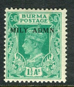 BURMA; 1945 early GVI MILY ADMIN issue fine Mint hinged 1.5a. value