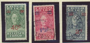 Belgian Congo Stamps Scott #130 To 132, Used, 130 MH, Short Set