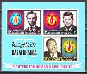 Ras Al Khaima, Mi cat. 228, BL41 B. Human Rights, IMPERF s/sheet. Kennedy.