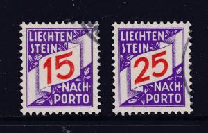 Liechtenstein x 2 early post dues used