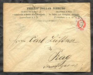 p308 - AUSTRIA Czechia Nimburg 1877 Cover to Prague Pollak Porcelain Glass Store