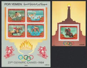 Yemen Horses Water polo Wrestling Olympic Games Los Angeles 2 MSs SG#MS319