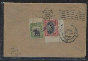 NORTH BORNEO COVER  (PP2712B) 1919 6C RHINOCEROS+4C COVER VIA SINGAPORE TO USA
