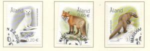 Aland Finland Sc 218-20 2004 Wild Animals stamp set used