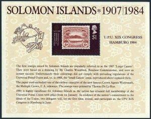 Solomon Isls 525 sheet,hinged.Michel Bl.14. UPU-110,1984.Communication Year.