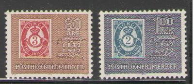 Norway Sc 584-5 1972 post horn anniversary stamps mint NH