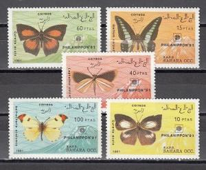 Sahara, 1991 issue. Butterflies shown on Philanippon Stamp Expo issue.
