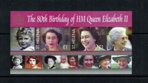 St Helena: 2008, Queen Elizabeth II, 80th Birthday, miniature sheet, MNH