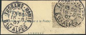 FRANCE - 1907 - CàD  THORAME-HAUTE / Bses ALPES  sur Yv.107 T.I sur fragment