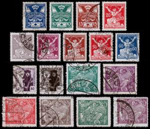Czechoslovakia Scott 65-81 (1920) Used/Mint H F-VF Complete Set B