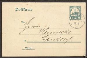 German East Africa H&G 18 used 1910 4h Psotal Card to Lendof, ARUSCHA Cancel