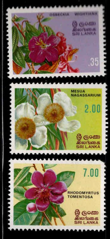 Sri Lanka Scott 628-630 MNH** 1982 flower short set 3/4