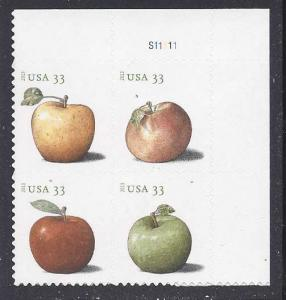 Catalog # 4777 80 Apples Plate Block of 4 33cent Postcard Rate Stamps